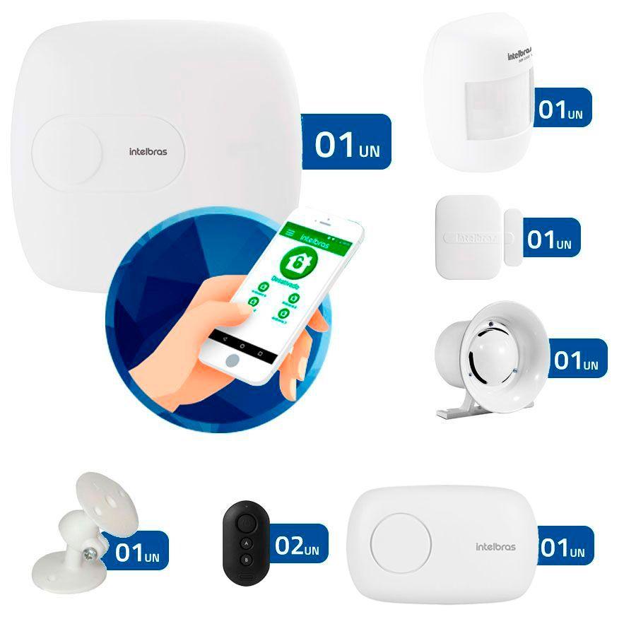 Kit de Alarme Intelbras AMT 1016 NET com 02 Sensores Monitorada via Internet com Aplicativo para Celular Sem Fio  - Tudo Forte