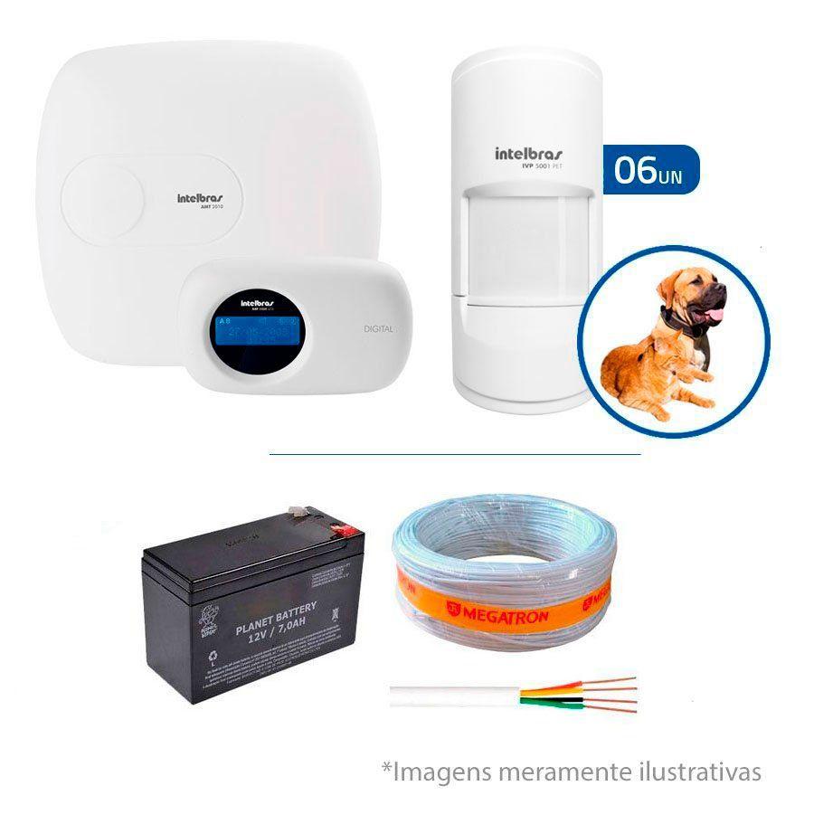 Kit de Alarme Intelbras AMT 2010 com 06 Sensores PET para  Animais até 20 Kg Com Fio