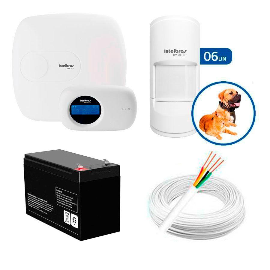 Kit de Alarme Intelbras AMT 2010 com 06 Sensores PET para  Animais até 20 Kg Com Fio  - Tudo Forte