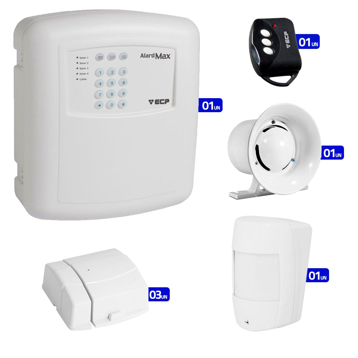 Kit de Alarme Residencial, Comercial com 04 Sensores sem fio ECP + 01 Controle Remoto, aviso de disparo por Telefone  - Tudo Forte