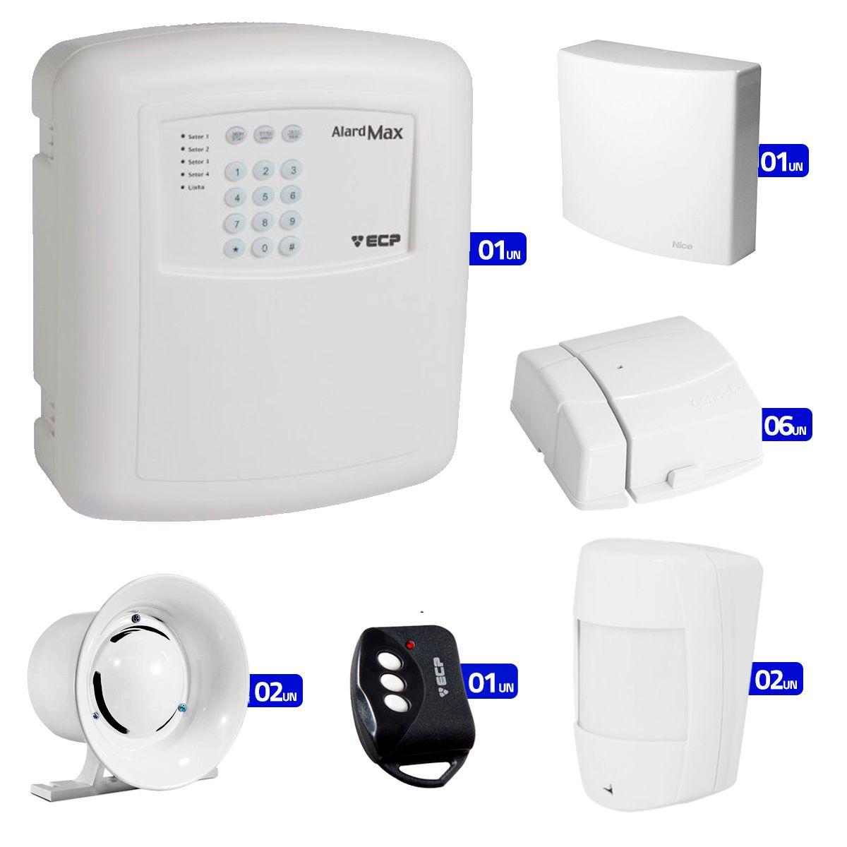 Kit de Alarme Residencial, Comercial com 08 Sensores sem fio ECP e Controle Remoto, Liga/Desliga por Celular Android  - Tudo Forte