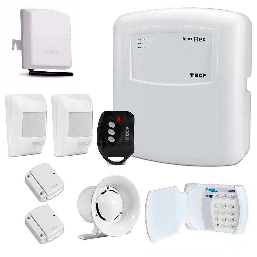 Kit de Alarme Residencial ECP 04 Sensores Sem Fio + Teclado Sem Fio e Controle Remoto, Com discadora via Celular  - Tudo Forte