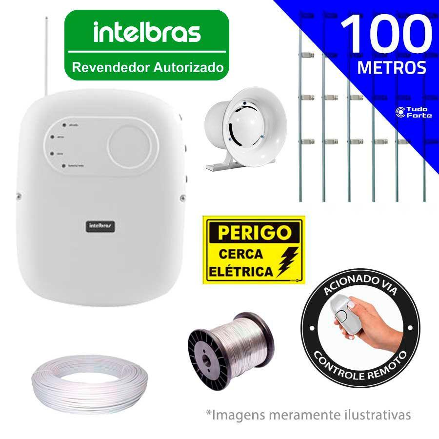 Kit de Cerca Elétrica Intelbras para 100 metros Central ELC 5001 Liga/Desliga por Controle Remoto com Haste M + Acessórios