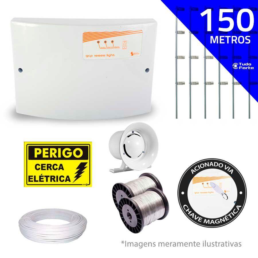 Kit de Cerca Elétrica para 150 metros Central GCP Liga/Desliga por Chave Magnetica com Haste M + Acessórios