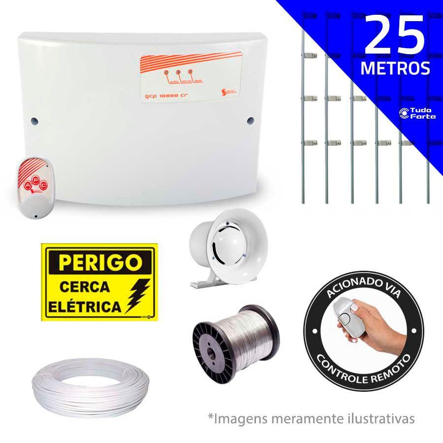 Kit de Cerca Elétrica para 25 metros Central GCP Liga/Desliga por Controle Remoto com Haste M + Acessórios