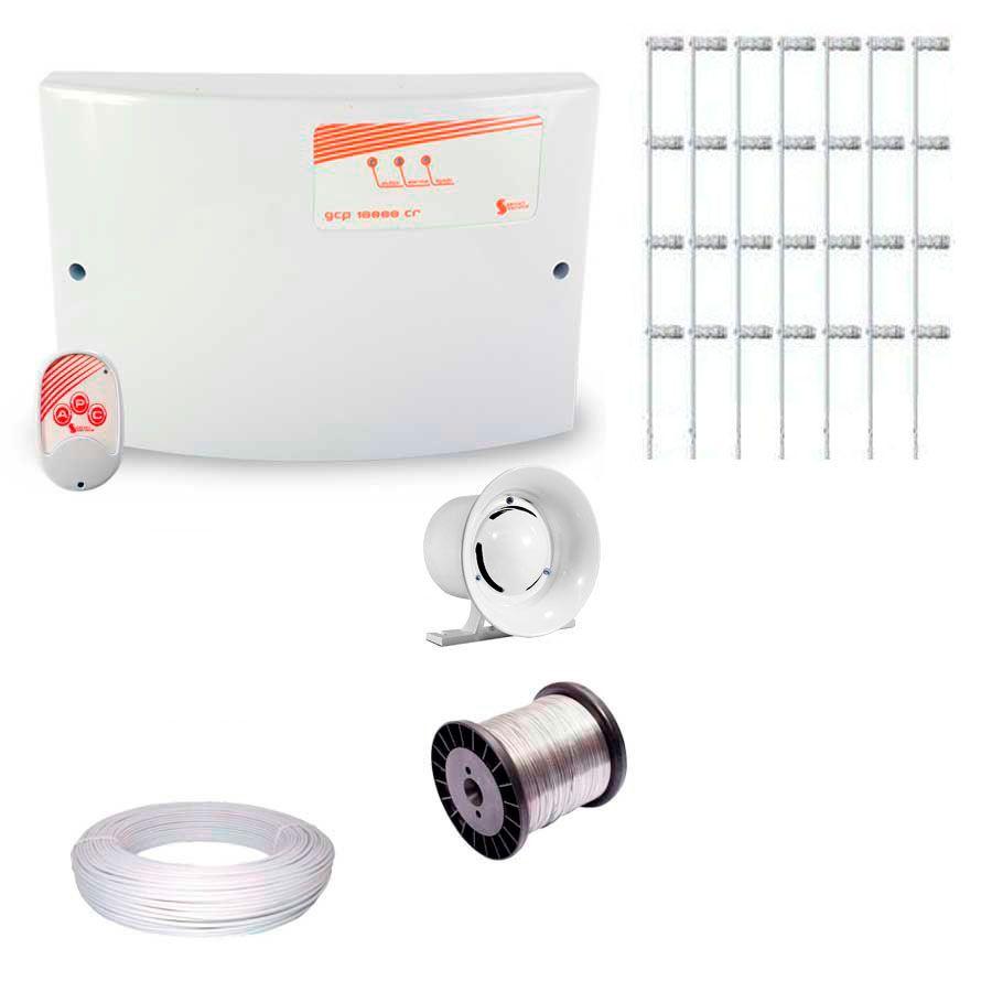 Kit de Cerca Elétrica para 25 metros Central GCP Liga/Desliga por Controle Remoto com Haste M + Acessórios  - Tudo Forte