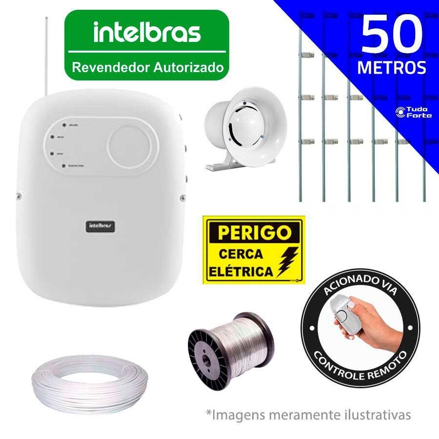 Kit de Cerca Elétrica para 50 metros Central Intelbras Liga/Desliga por Controle Remoto com Haste M + Acessórios