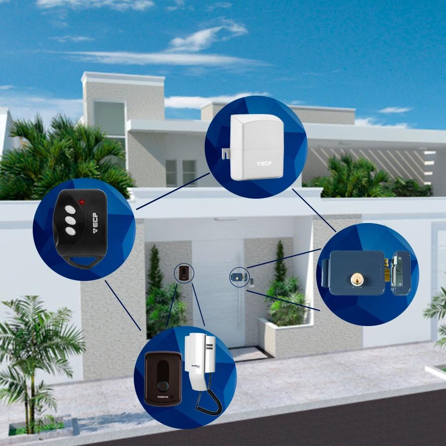 Kit Fechadura Elétrica Sem Fio FFX 1000 + Porteiro IPR 8010 Intelbras + Receptor ECP com Controle