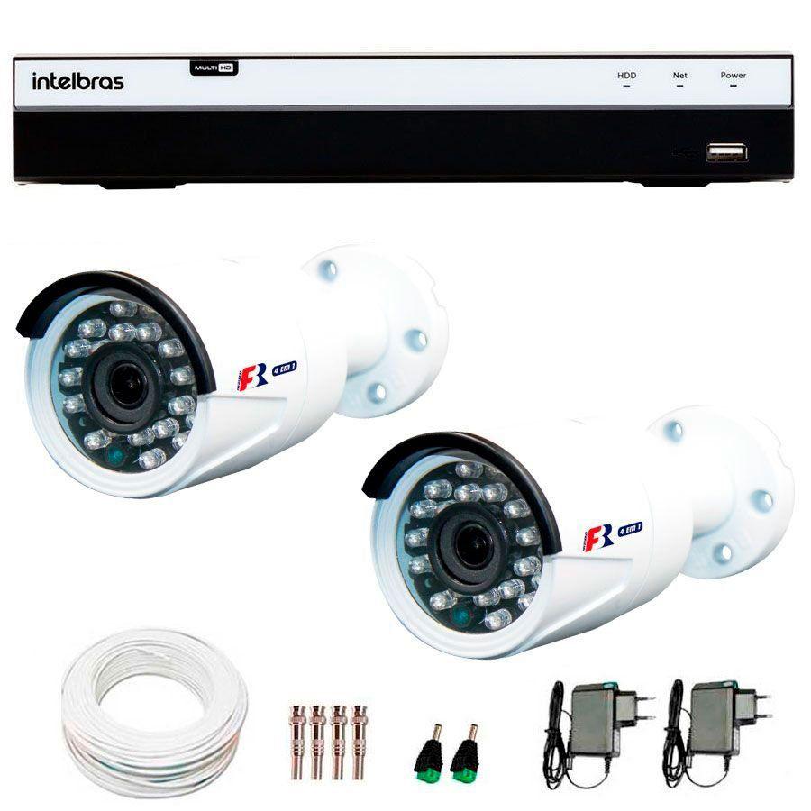 Kit Full HD DVR Intelbras 1080p + 02 Câmeras de Segurança Full HD 1080p Focusbras FS-MDF2M + Acessórios
