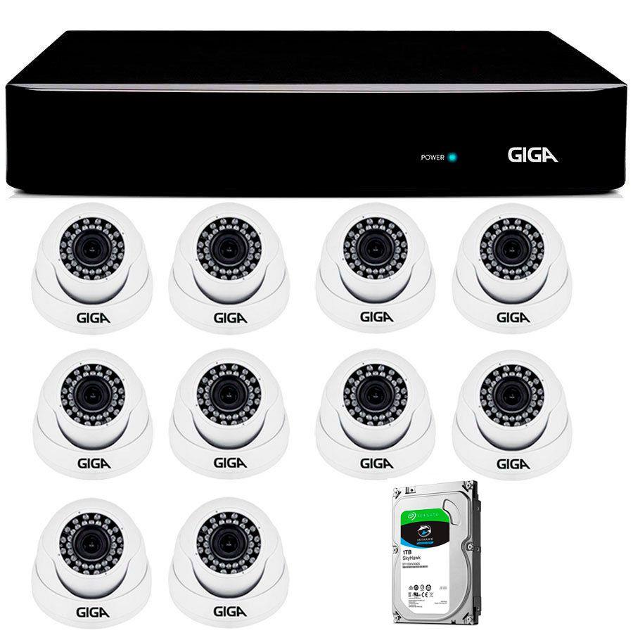 Kit Giga Security 10 Câmeras 2K GS0041 + DVR com HD 1TB Seagate + Acessórios  - Tudo Forte