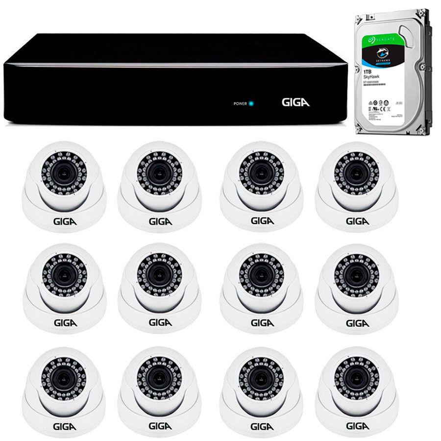 Kit Giga Security 12 Câmeras 2K GS0041 + DVR com HD 1TB Seagate + Acessórios  - Tudo Forte