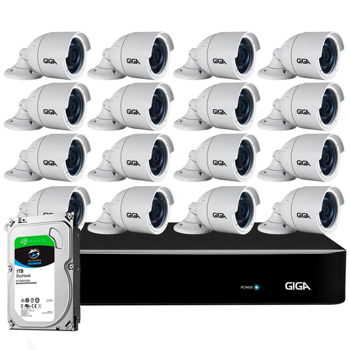 Kit 16 Câmeras Full HD + DVR Giga Security + HD 1TB + App Grátis de Monitoramento, Câmeras GS0273 1080p 30m Infravermelho de Visão Noturna + Fonte, Cabos e Acessórios  - Tudo Forte