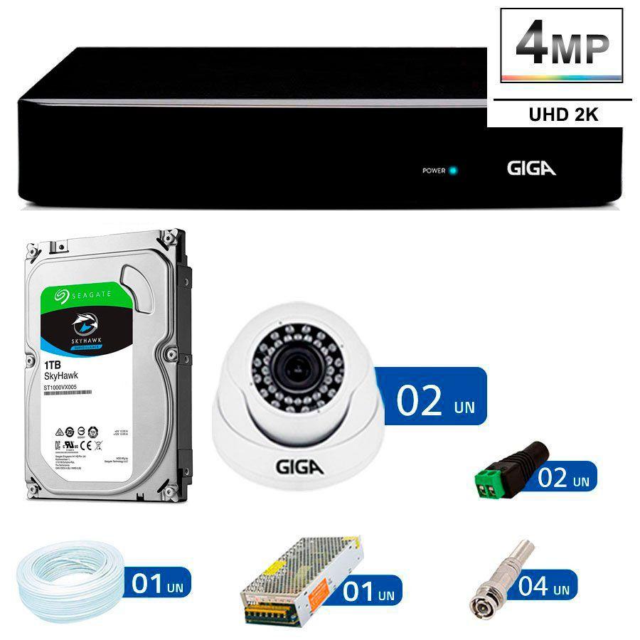 Kit Giga Security 2 Câmeras 2K GS0041 + DVR com HD 1TB Seagate + Acessórios  - Tudo Forte