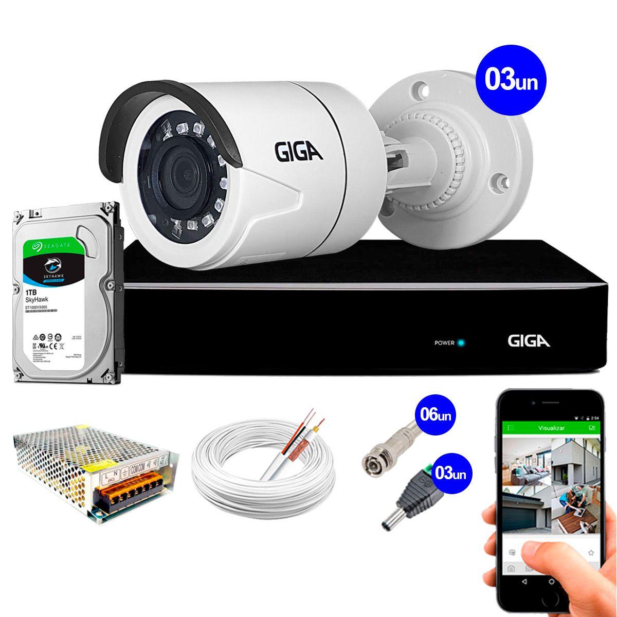 Kit Super Starvis Full HD 1080p 03 Câmeras GS0055 + DVR Giga Security + HD 1TB Skyhawk + Acessórios  - Tudo Forte