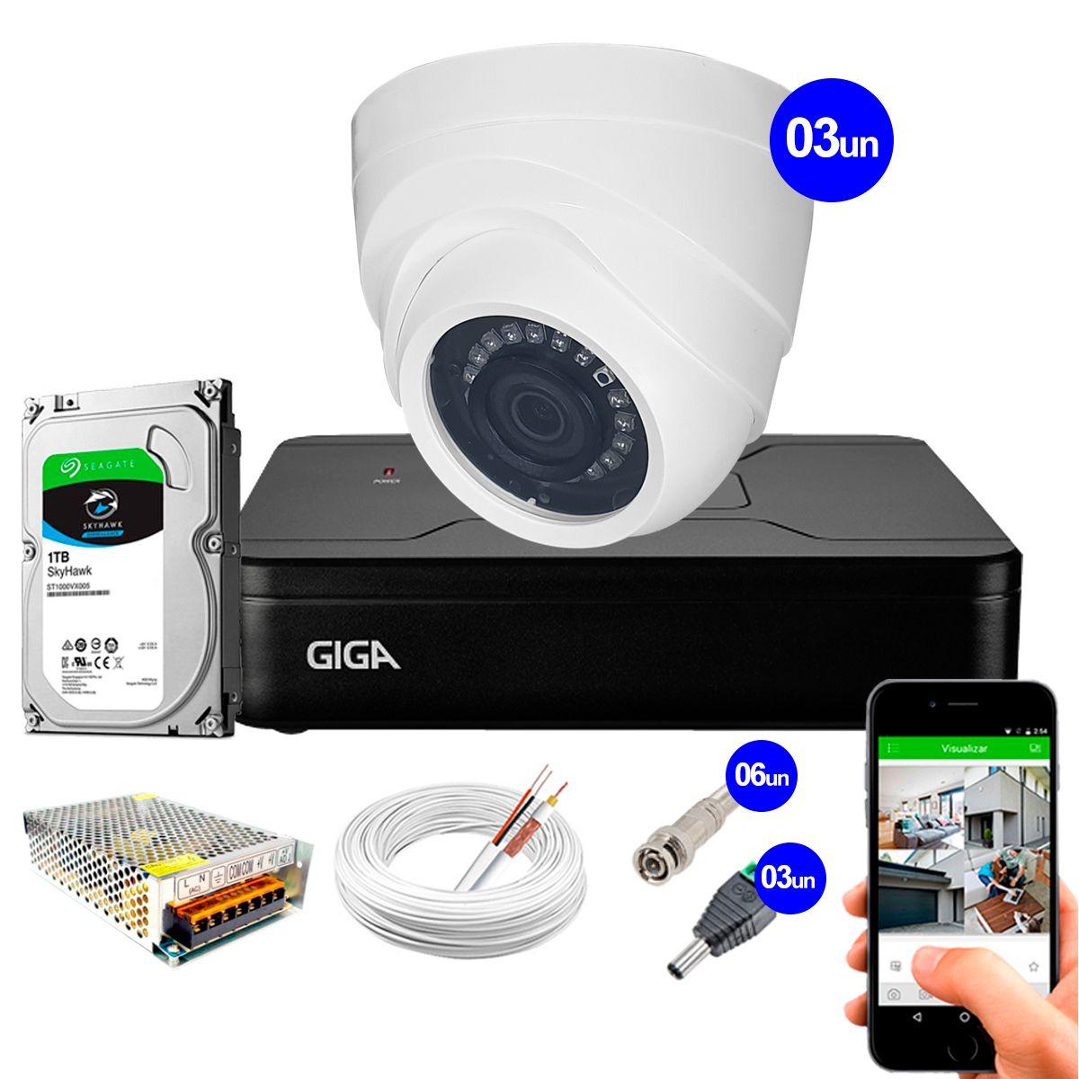 Kit Giga Security 3 Câmeras HD 720p GS0019 + DVR Lite com HD 1TB Seagate + Acessórios  - Tudo Forte
