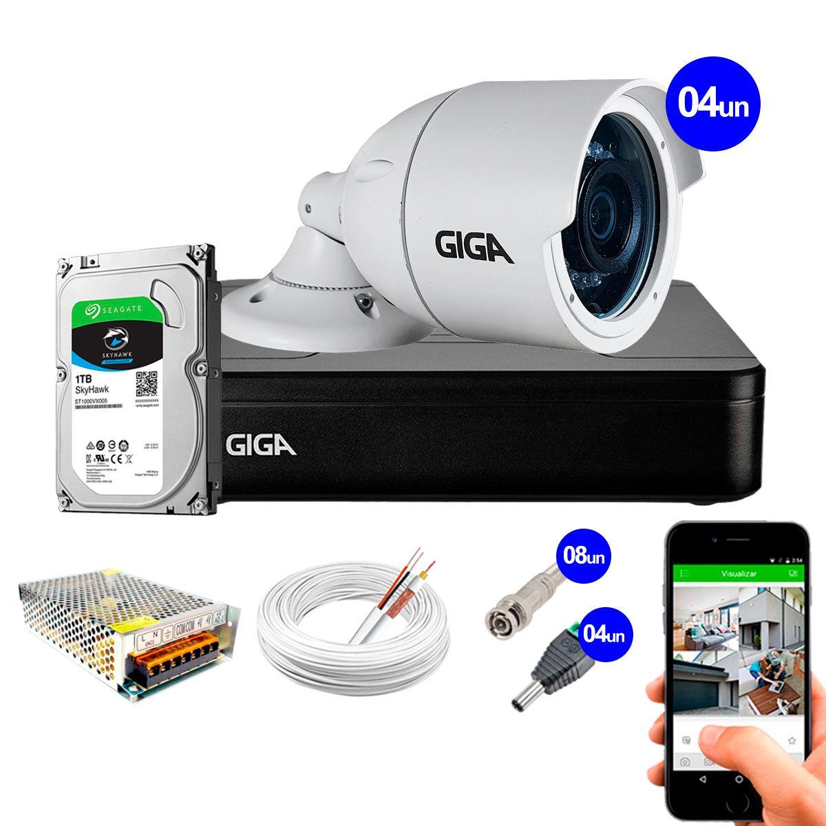 Kit 4 Câmeras GS0022 HD 720p Giga Security + DVR com HD 1TB Seagate + Acessórios  - Tudo Forte