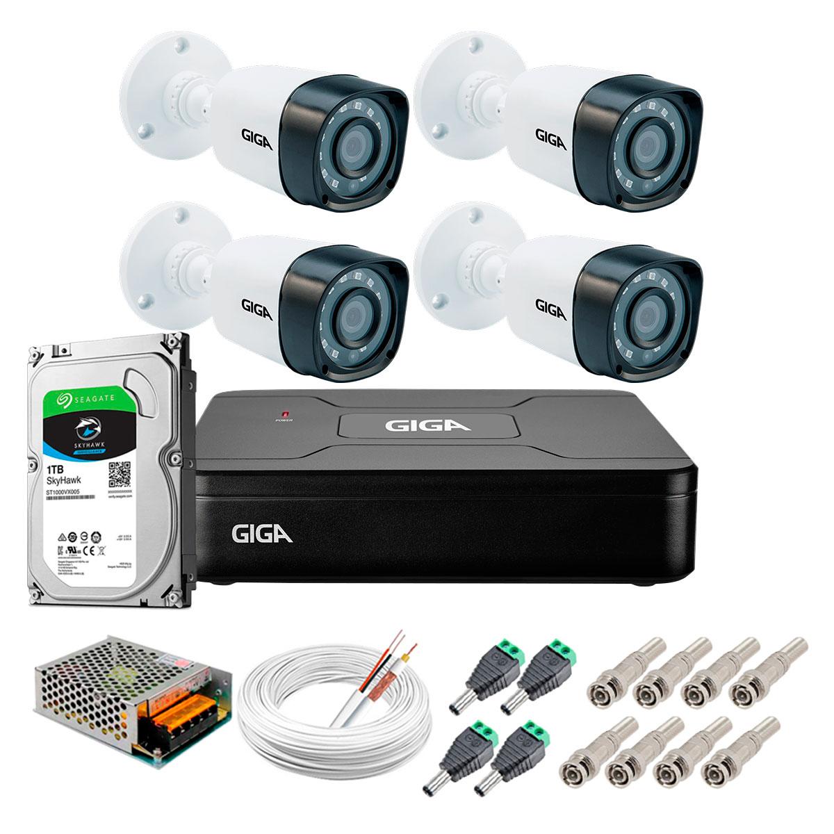 Kit Giga Security 4 Câmeras HD 720p GS0018 + DVR com HD 1TB Seagate + Acessórios  - Tudo Forte