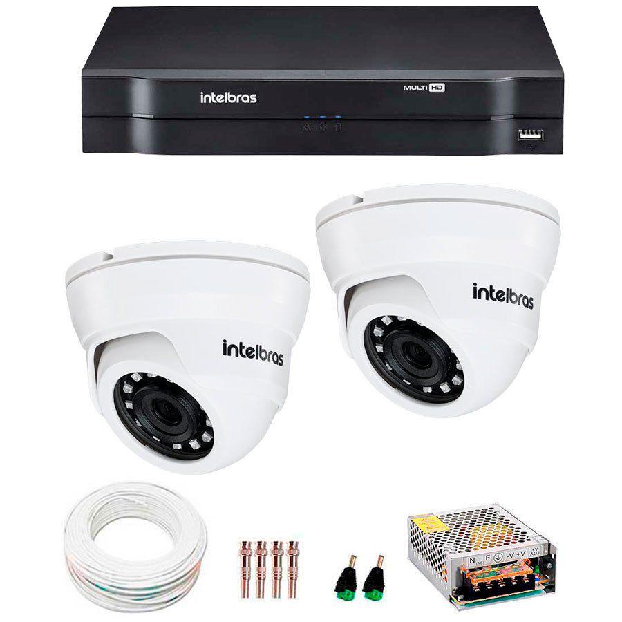 Kit 2 Câmeras Intelbras HD 720p VMH 1010 D, com DVR 04 Canais e Acessórios  - Tudo Forte
