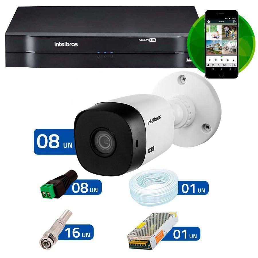Kit Intelbras 8 Câmeras HD 720p VHL 1120 B + DVR 1108 Intelbras  + Acessórios  - Tudo Forte