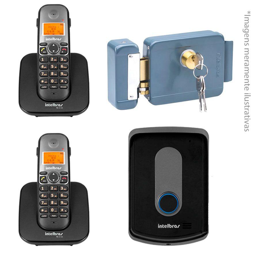 Kit Intelbras Interfone Porteiro Residencial Sem Fio TIS 5010 com Ramal Externo + 02 Ramais Internos para Atendimento + Fechadura Elétrica de Sobrepor Intelbras FX 2000  - Tudo Forte