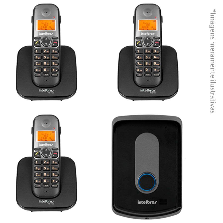 Kit Interfone Porteiro Residencial Intelbras Sem Fio TIS 5010 com 03 Ramais Internos para Atendimento  - Tudo Forte