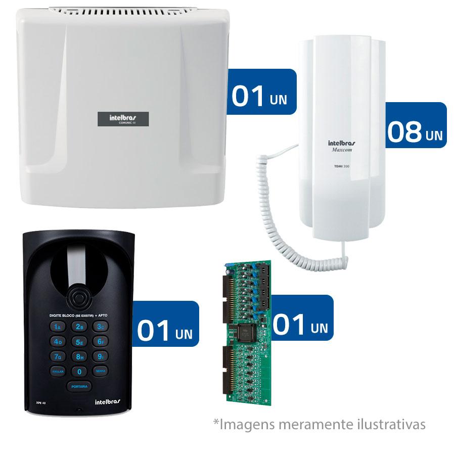 Kit Interfonia condominial Intelbras Completo para 8 Apartamentos - Sem Portaria