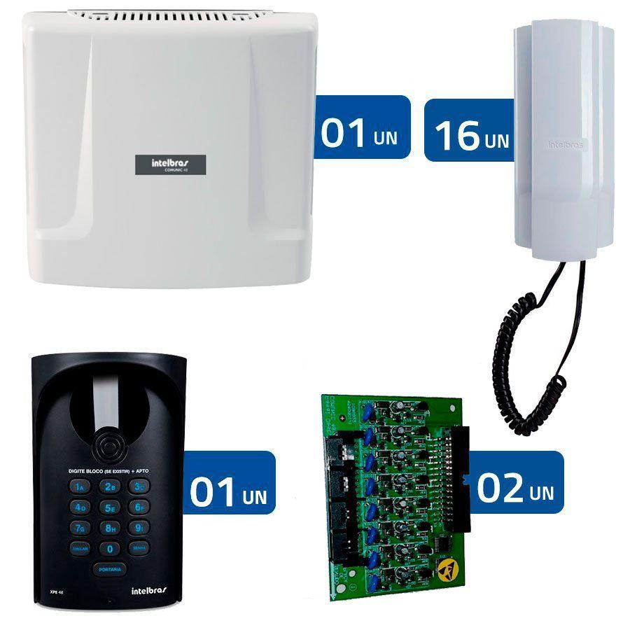 Kit Interfonia condominial Comunic 16 Intelbras Completo para 16 Apartamentos - Sem Portaria