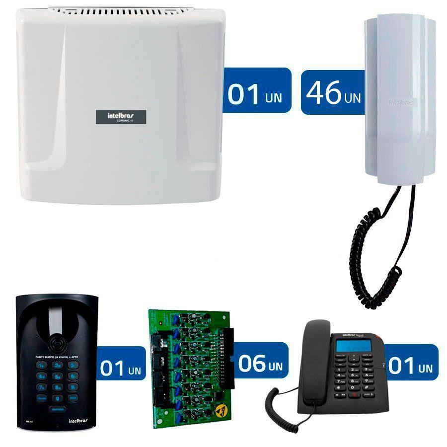 Kit Interfonia condominial Comunic 48 Intelbras Completo para 46 Apartamentos + 1 Portaria