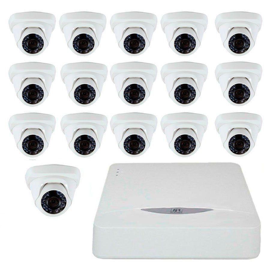 Kit JFL 16 Câmeras Dome HD 720p CHD-1115P + DVR DHD-2116N 1080N + Acessórios