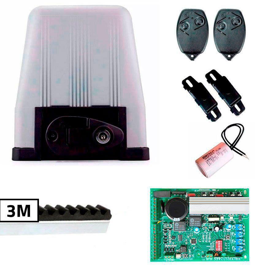 Kit Motor Portão Eletrônico DZ4 BI-TURBO Rossi, com 3 metros de Cremalheiras