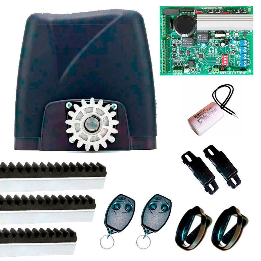 Kit Motor Portão Eletrônico NANO BI-TURBO Rossi, com 3 metros de Cremalheiras