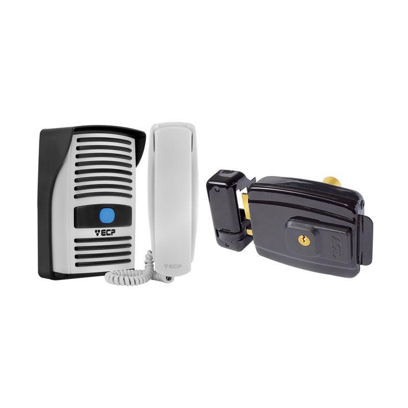 Kit Porteiro Residencial Eletrônico ECP Intervox + Fechadura Elétrica AGL AL 100 abertura interna 12v ou 110v  - Tudo Forte