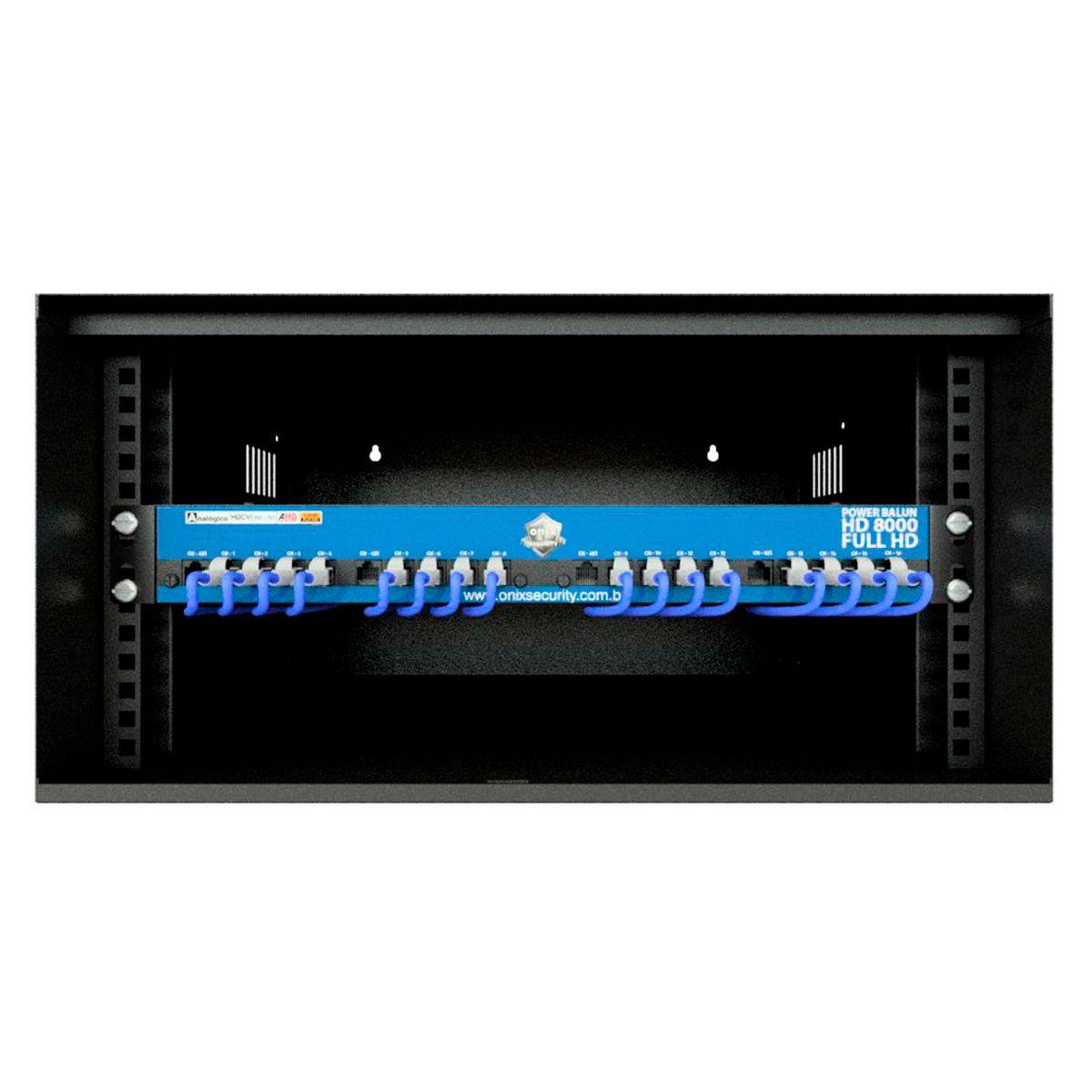 """Kit Rack 5U + Power Balun 16Ch HD 8000 Onix Security Até 5Mp Leva Sinal de Video e Alimentação Através Único Cabo e Fonte Inclusa, Horizontal 19""""  - Tudo Forte"""