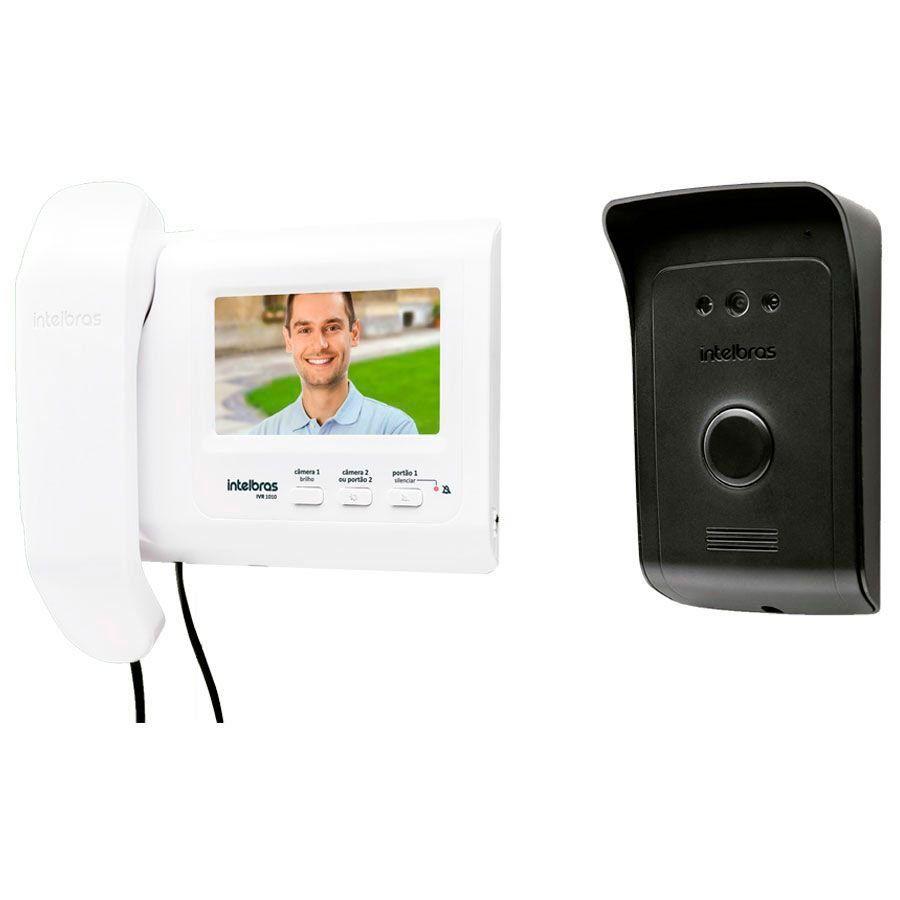 Kit Vídeo Porteiro Interfone Intelbras IVR 1010, visualização câmera extra, abre 2 portões