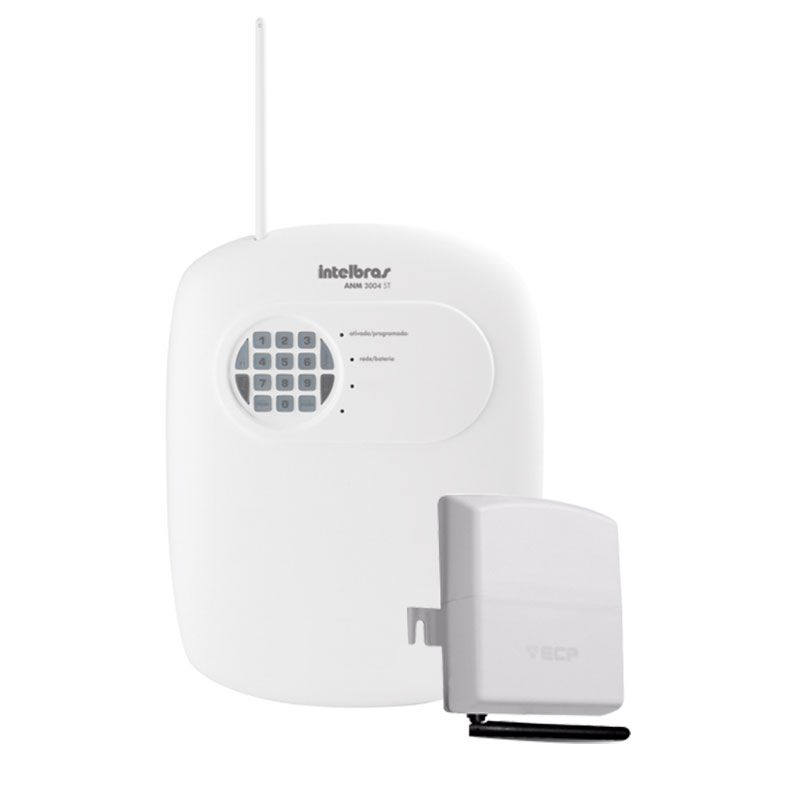 Kit Central de Alarme Com e Sem Fio Intelbras ANM 3008 ST c/ até 8 Zonas + Discadora via Chip de Celular GSM ECP Conect Cell