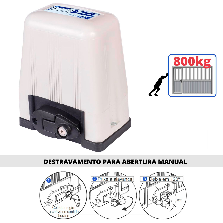 Motor Portão Rossi DZ4 SK 800Kg 1/3 Deslizante Automático de Correr Eletrônico Com Abertura Rápida  - Tudo Forte
