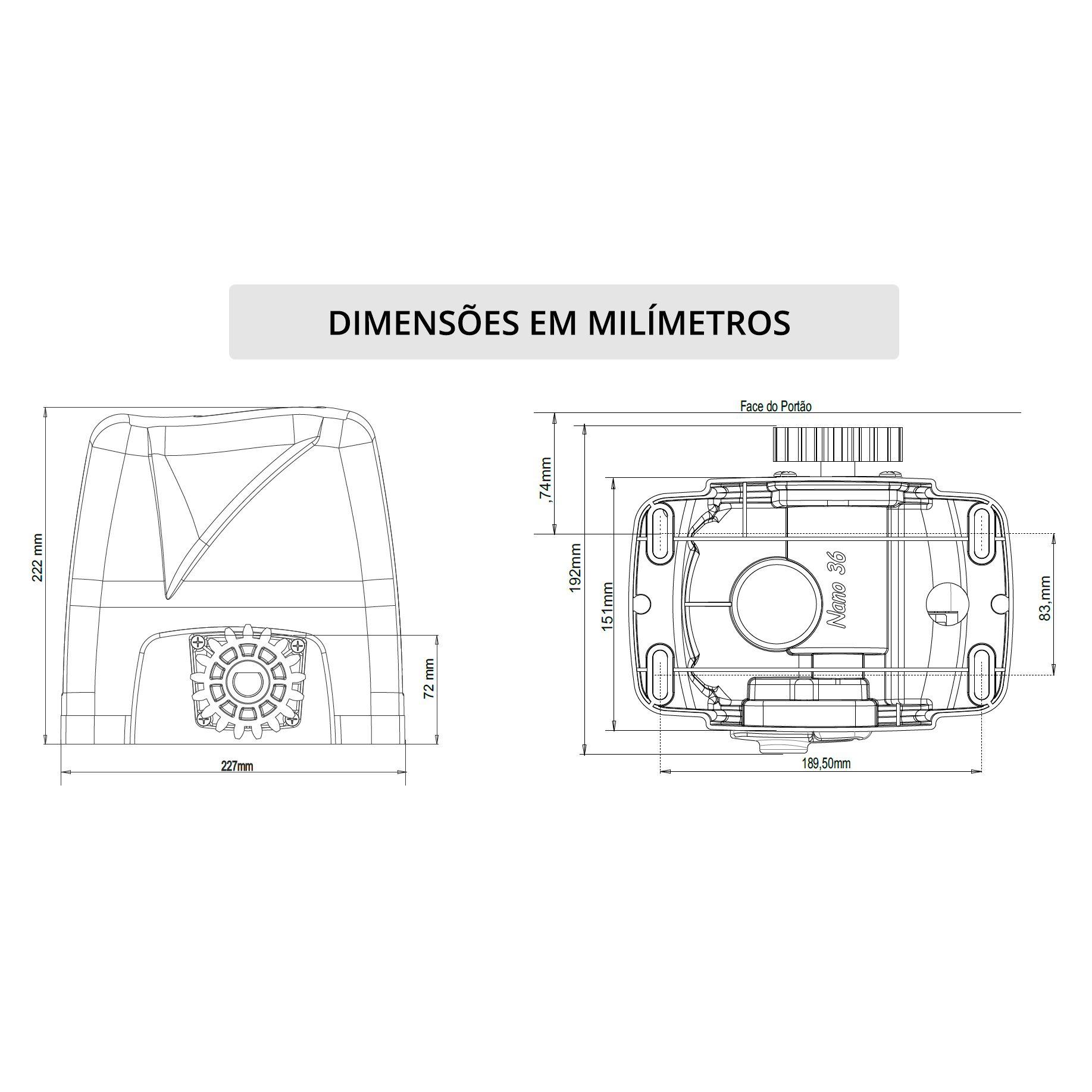 Motor Portão Rossi DZ Nano Turbo 600Kg 1/4 Deslizante Automático de Correr Eletrônico Com Abertura Rápida  - Tudo Forte