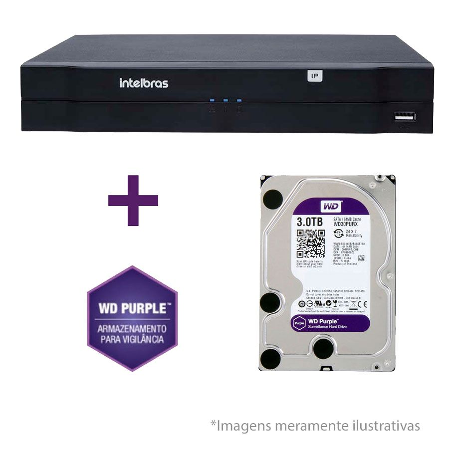 NVR, HVR Stand Alone Intelbras NVD 1208 8 Canais, para Camera IP, OnVif + HD WD Purple 3TB