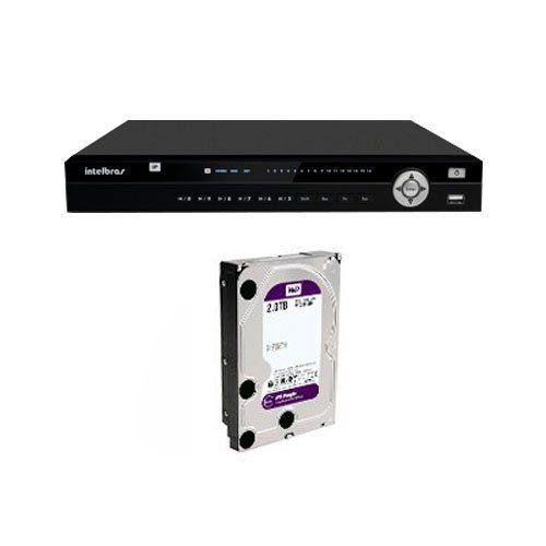NVR, HVR Stand Alone Intelbras NVD 3016 P, com 4 portas PoE, 16 Canais, para Camera IP, OnVif + HD 2TB WD Purple de CFTV