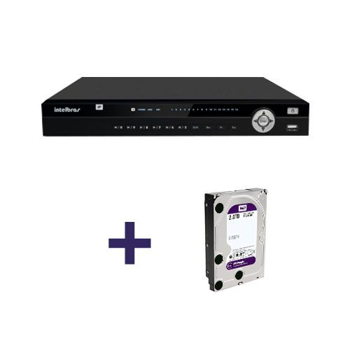 NVR, HVR Stand Alone Intelbras NVD 3016 16 Canais, para Camera IP, OnVif + HD 2TB WD Purple de CFTV