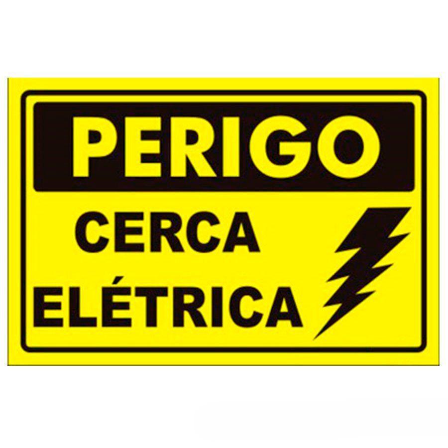 """Placa de Advertência para Cerca Elétrica """"Cuidado Cerca Elétrica""""  - Tudo Forte"""