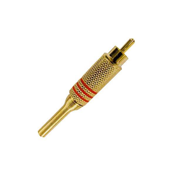 Plug RCA Macho Dourado Mola 6MM  - Tudo Forte