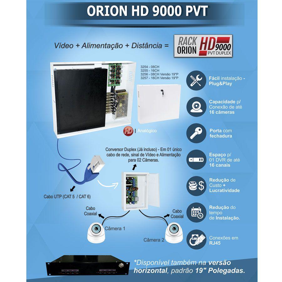 """Rack 9000 PVT Duplex 16 Ch Onix Security Leva Sinal de Video e Alimentação Através Único Cabo e Fonte Inclusa, Organizador Horizontal 19"""" HD e Analógico  - Tudo Forte"""