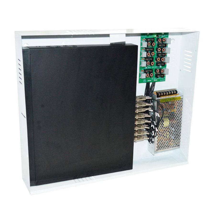 Rack 9000 PVT Duplex 16 Ch Com Fechadura Onix Security Leva Sinal de Video e Alimentação Através Único Cabo e Fonte Inclusa, Organizador Vertical HD e Analógico  - Tudo Forte