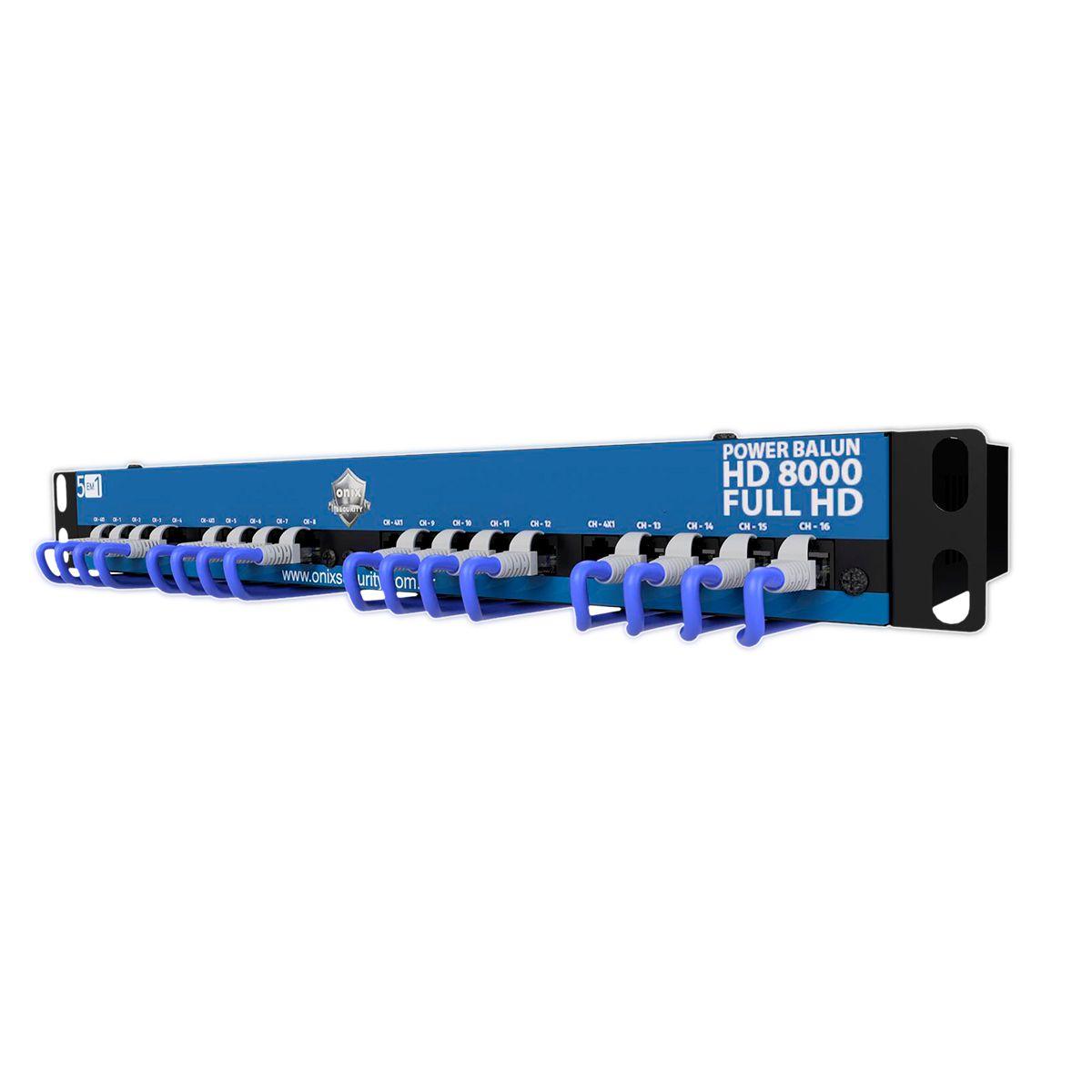 """Rack Power Balun HD 8000 16 Ch De Até 5Mp Onix Security Leva Sinal de Video e Alimentação Através Único Cabo e Fonte Inclusa, Horizontal 19"""" Padrão U   - Tudo Forte"""