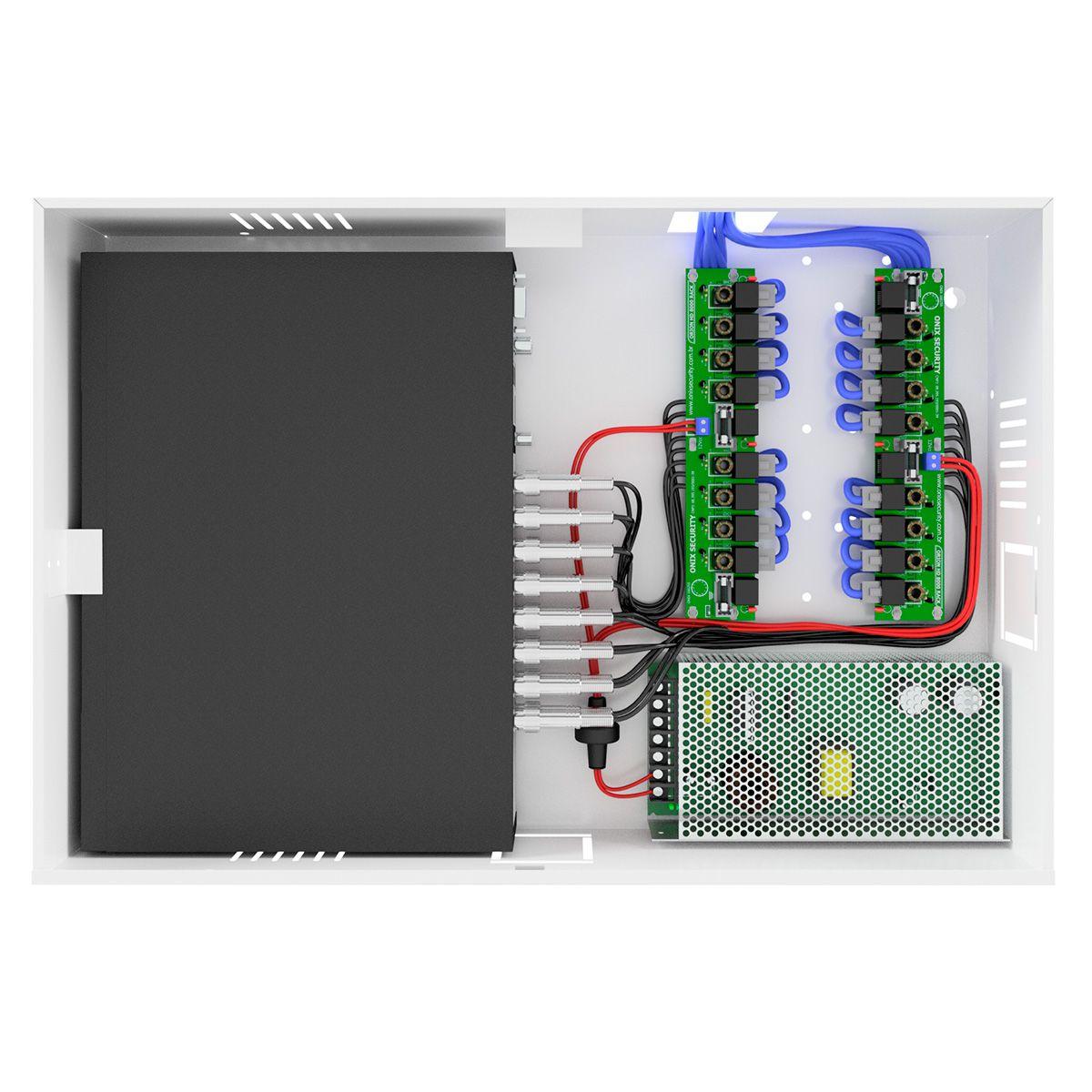 Rack Power Balun HD 8000 8 Ch De Até 5Mp Onix Security Leva Sinal de Video e Alimentação Através Único Cabo e Fonte Inclusa, Organizador Vertical  - Tudo Forte