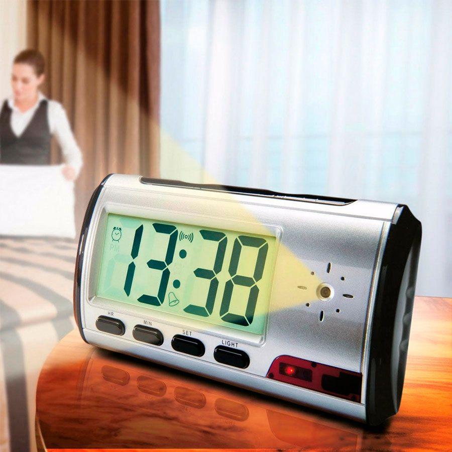 Relógio Espião de mesa Mini Câmera Escondida Camuflada Grava Áudio e Vídeo e Fotografa