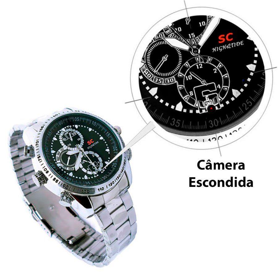 Relógio Espião de pulso Mini Câmera Escondida Camuflada Grava Áudio e Vídeo e Fotografa