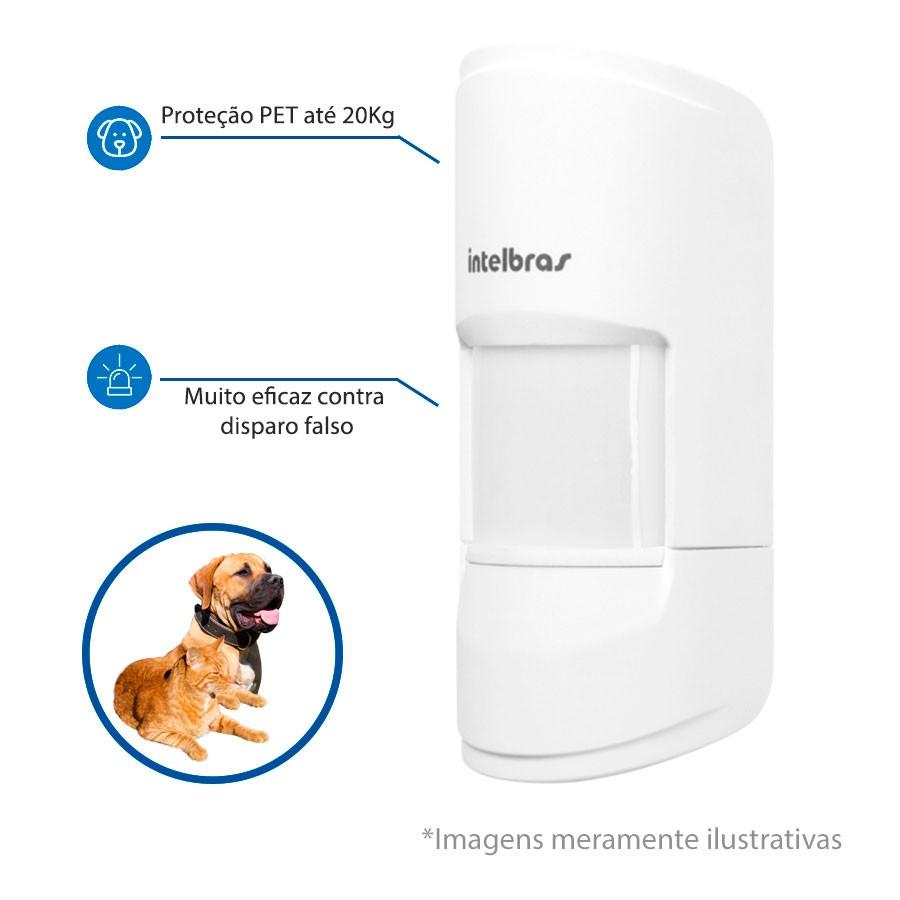 Sensor de Presença Infravermelho IVP 4001 PET Smart Sem Fio Passivo, ,2 níveis de sensibilidade, Cobertura com ângulo de 90° Alcance de 12m - PET 20 Kg