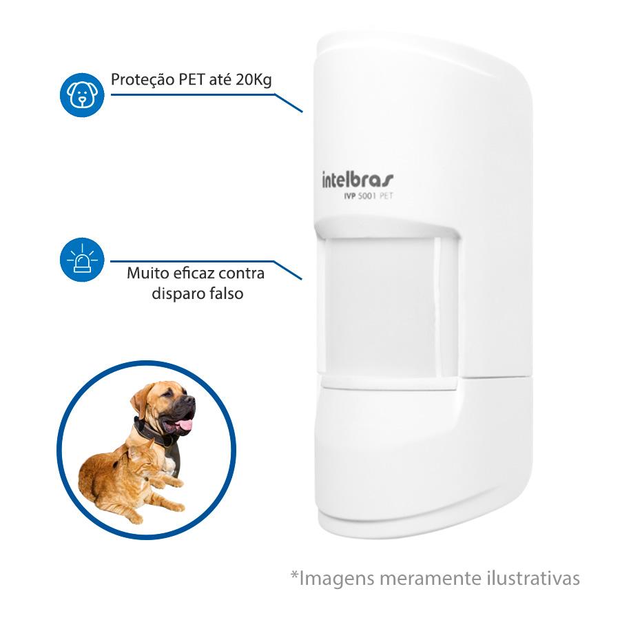 Sensor de Presença Infravermelho IVP 5001 PET Intelbras Com Fio Passivo, ,2 níveis de sensibilidade, Cobertura com ângulo de 90° Alcance de 12m - PET 20 Kg